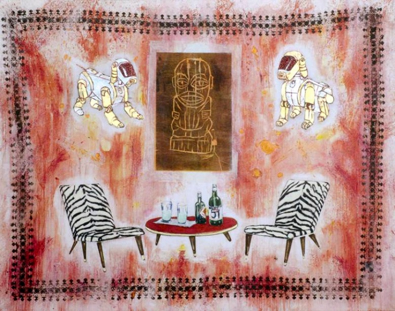 Red Interior with robot dogs, Pastis and Tiki, 2003-2005