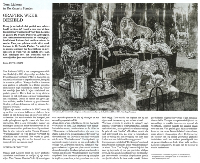 artikel in H ART over Taxidermist
